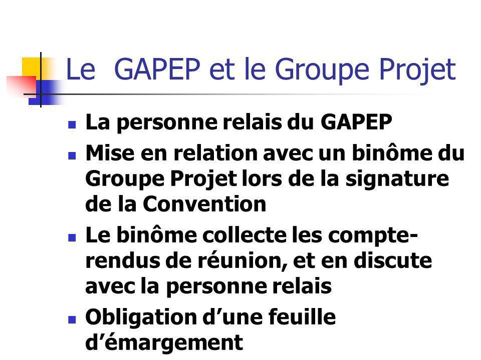 Le GAPEP et le Groupe Projet