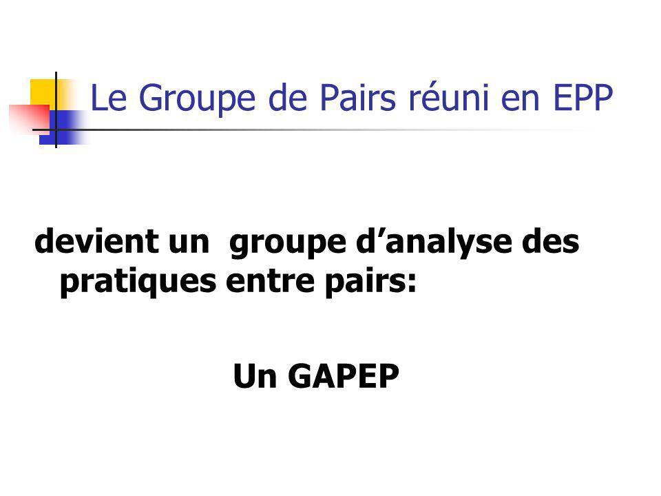 Le Groupe de Pairs réuni en EPP