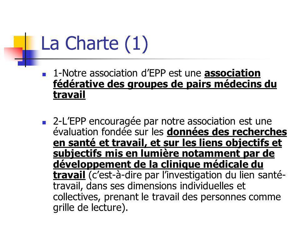 La Charte (1) 1-Notre association d'EPP est une association fédérative des groupes de pairs médecins du travail.