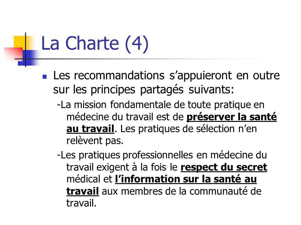 La Charte (4) Les recommandations s'appuieront en outre sur les principes partagés suivants: