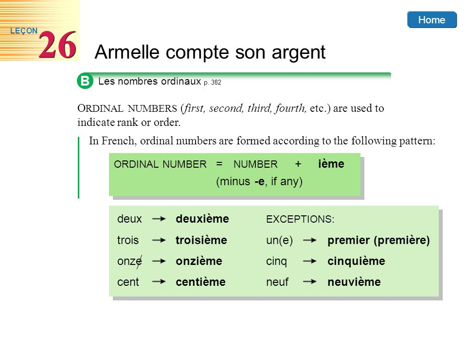 B Les nombres ordinaux p. 382. ORDINAL NUMBERS (first, second, third, fourth, etc.) are used to indicate rank or order.