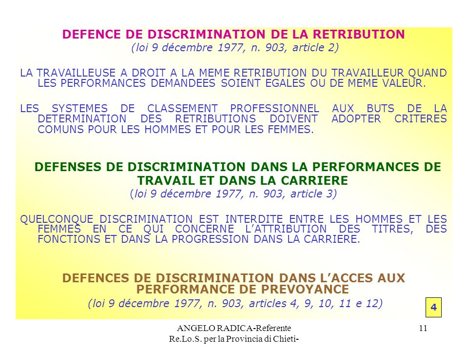 DEFENCE DE DISCRIMINATION DE LA RETRIBUTION