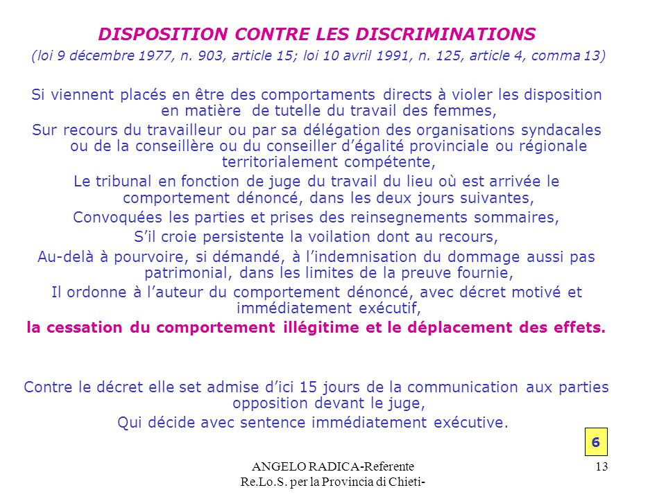 DISPOSITION CONTRE LES DISCRIMINATIONS