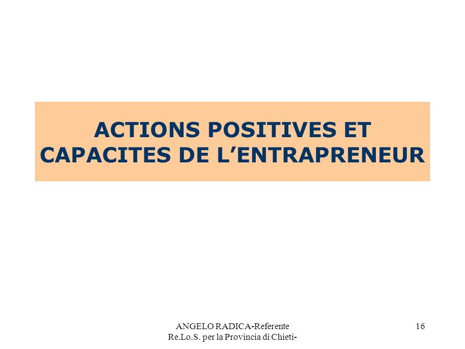 ACTIONS POSITIVES ET CAPACITES DE L'ENTRAPRENEUR