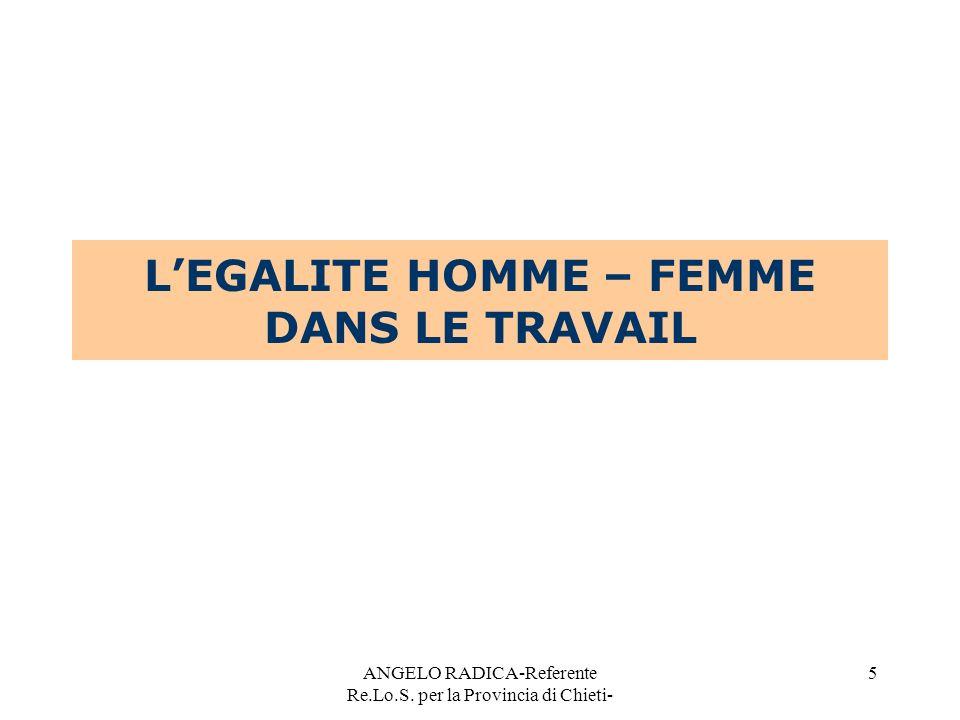 L'EGALITE HOMME – FEMME DANS LE TRAVAIL