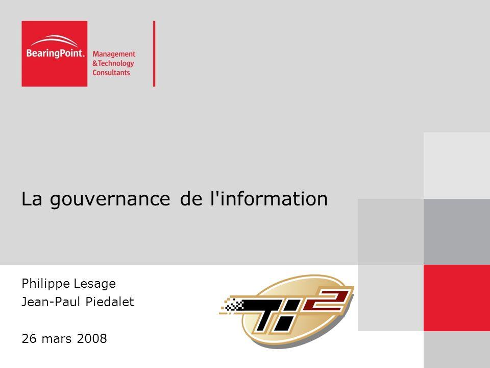 La gouvernance de l information