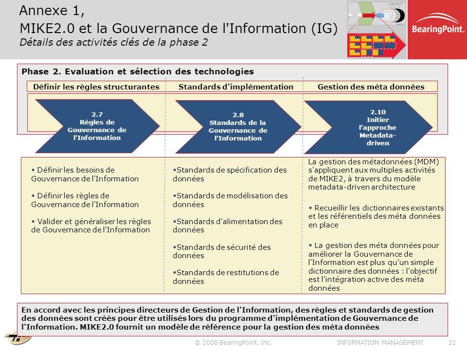 Annexe 1, MIKE2.0 et la Gouvernance de l Information (IG) Détails des activités clés de la phase 2.