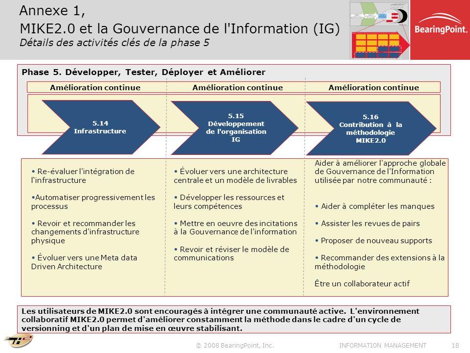 Annexe 1, MIKE2.0 et la Gouvernance de l Information (IG) Détails des activités clés de la phase 5.
