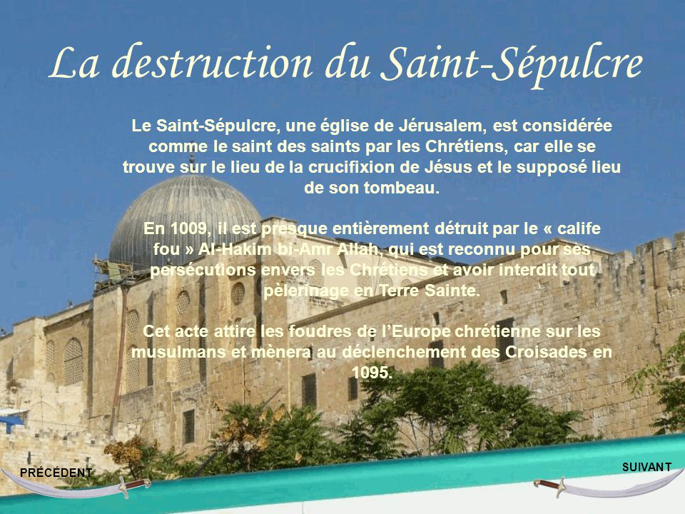 La destruction du Saint-Sépulcre
