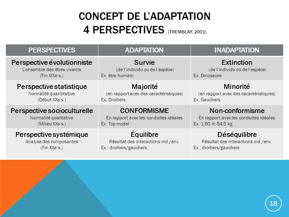 Concept de l'ADAPTATION 4 perspectives (Tremblay, 2001)