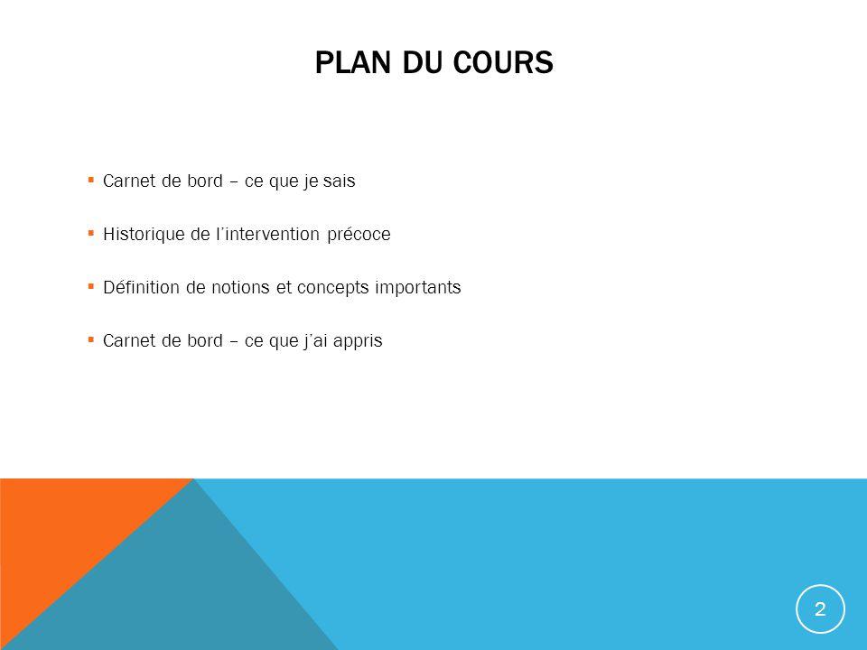 Plan du cours Carnet de bord – ce que je sais
