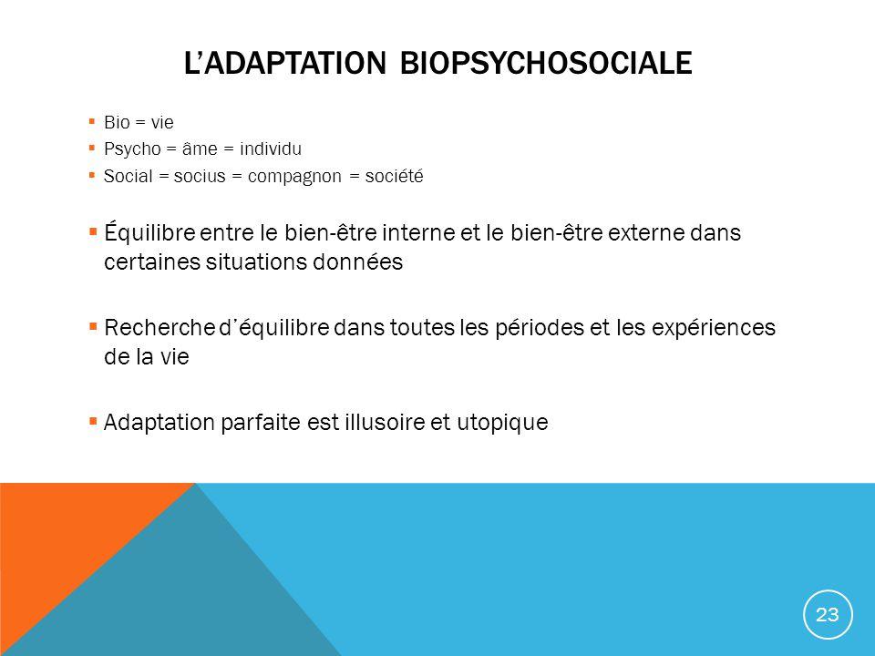 L'adaptation biopsychosociale