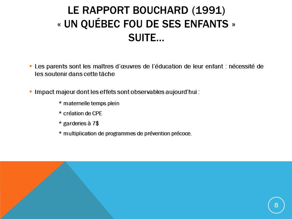 Le rapport Bouchard (1991) « Un Québec fou de ses enfants » Suite…