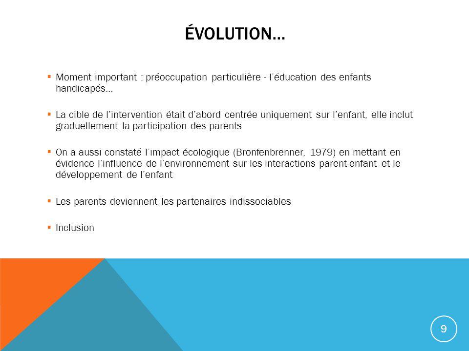 Évolution… Moment important : préoccupation particulière - l'éducation des enfants handicapés…