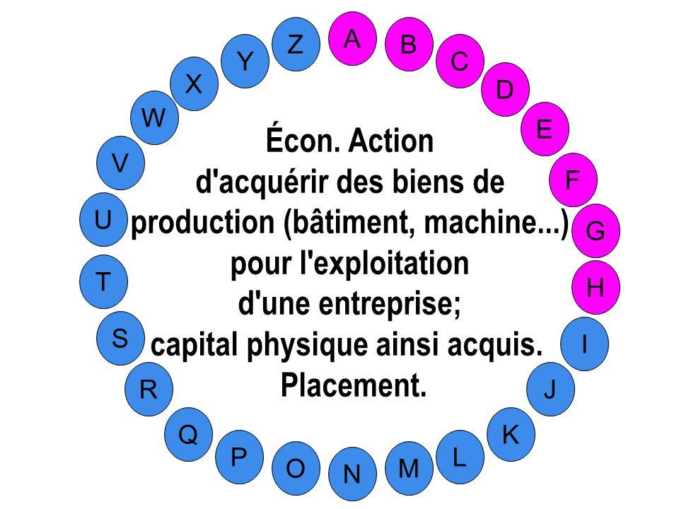 production (bâtiment, machine...) capital physique ainsi acquis.