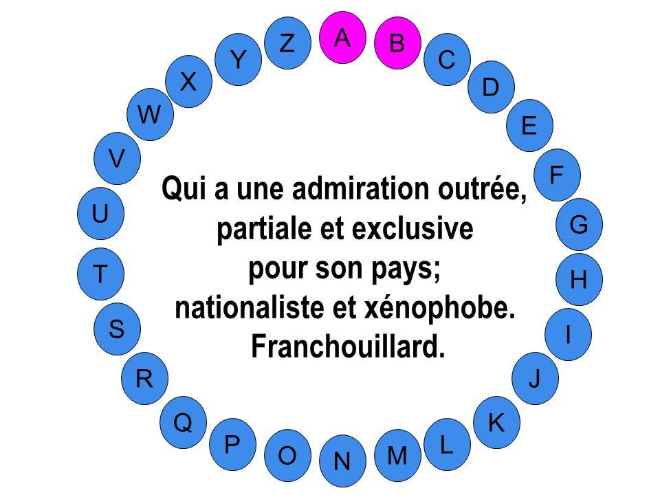 Qui a une admiration outrée, nationaliste et xénophobe.