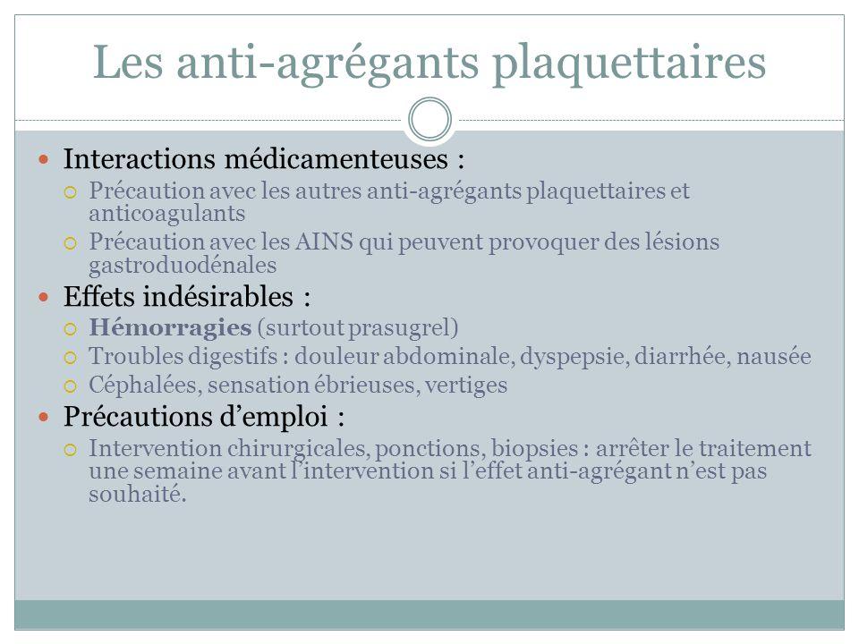 Les anti-agrégants plaquettaires