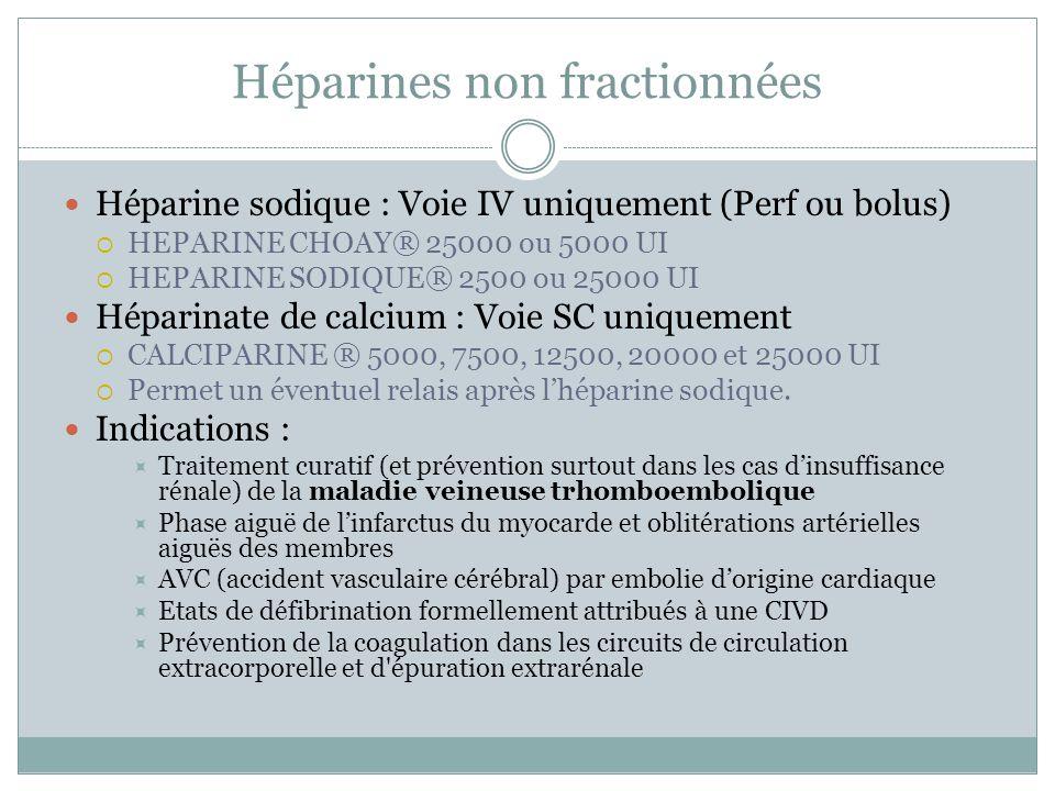 Héparines non fractionnées