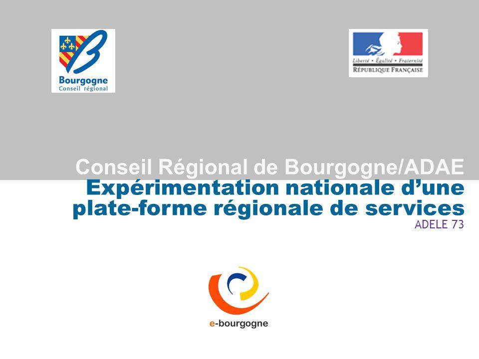 Conseil Régional de Bourgogne/ADAE Expérimentation nationale d'une plate-forme régionale de services ADELE 73