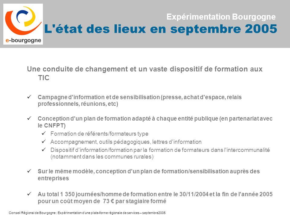 Expérimentation Bourgogne L état des lieux en septembre 2005