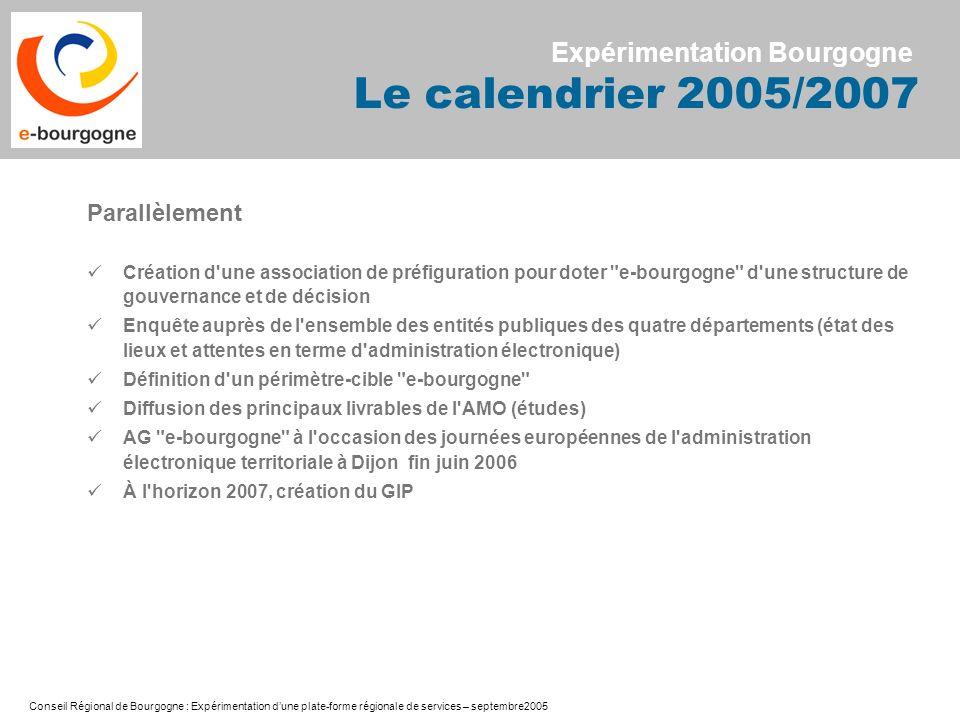 Expérimentation Bourgogne Le calendrier 2005/2007