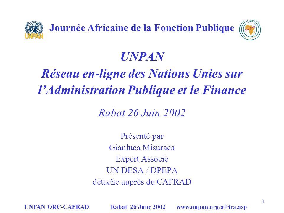 UNPAN Réseau en-ligne des Nations Unies sur