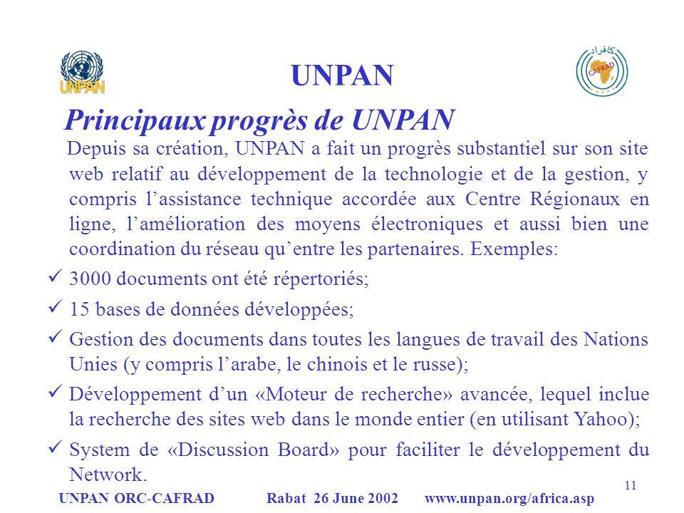 Principaux progrès de UNPAN