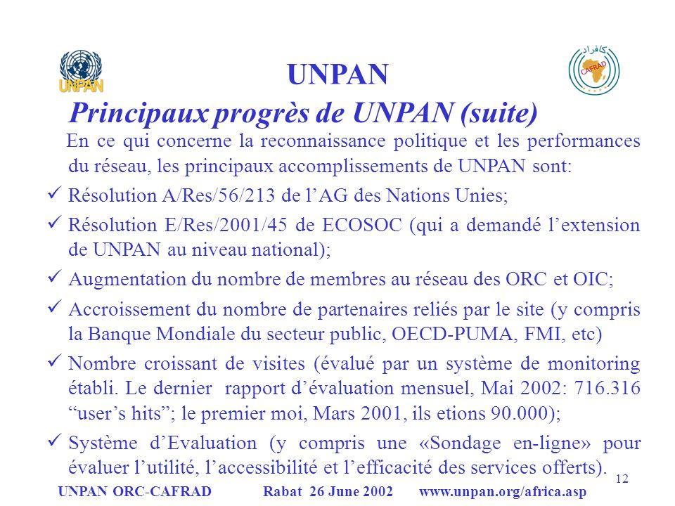 Principaux progrès de UNPAN (suite)