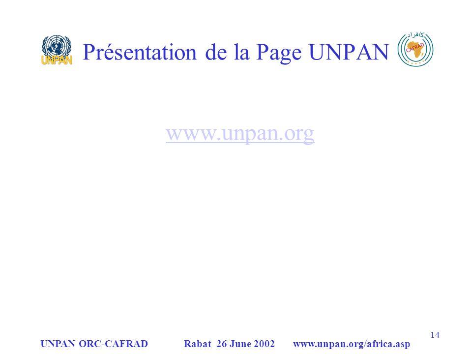 Présentation de la Page UNPAN
