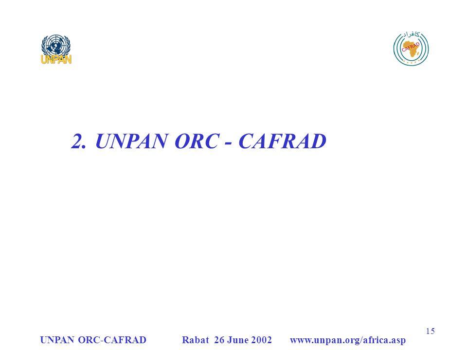 UNPAN ORC - CAFRAD UNPAN ORC-CAFRAD Rabat 26 June 2002 www.unpan.org/africa.asp