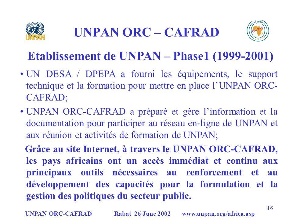 UNPAN ORC – CAFRAD Etablissement de UNPAN – Phase1 (1999-2001)