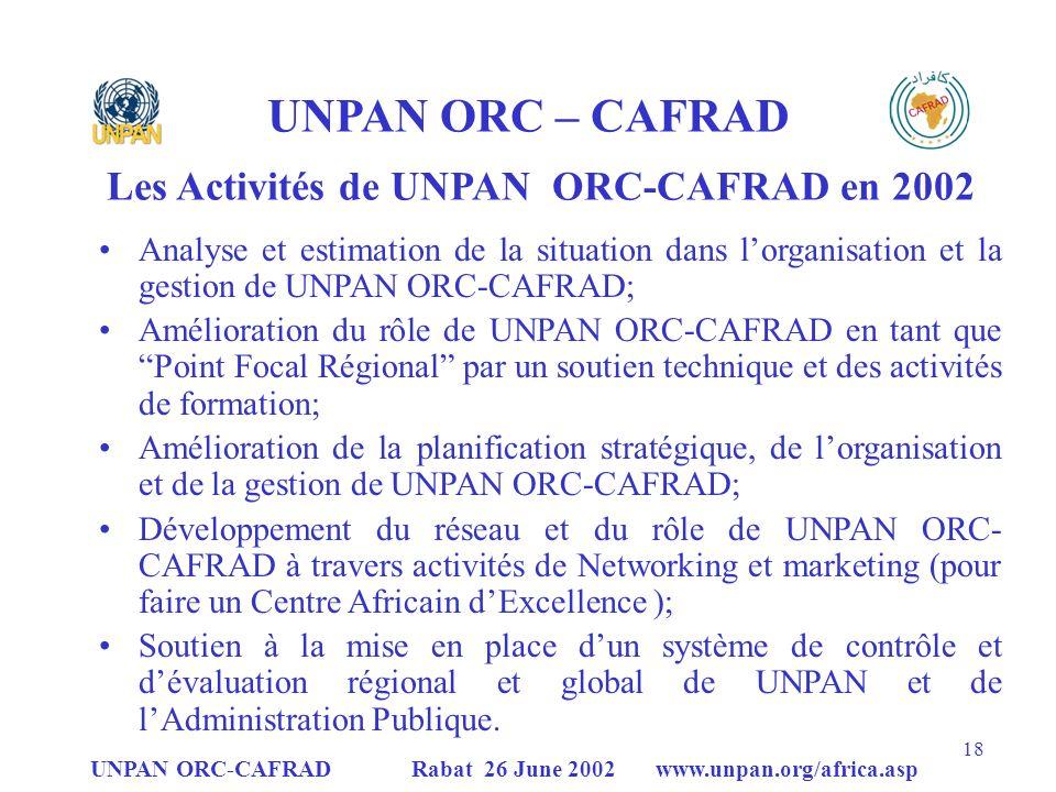 Les Activités de UNPAN ORC-CAFRAD en 2002