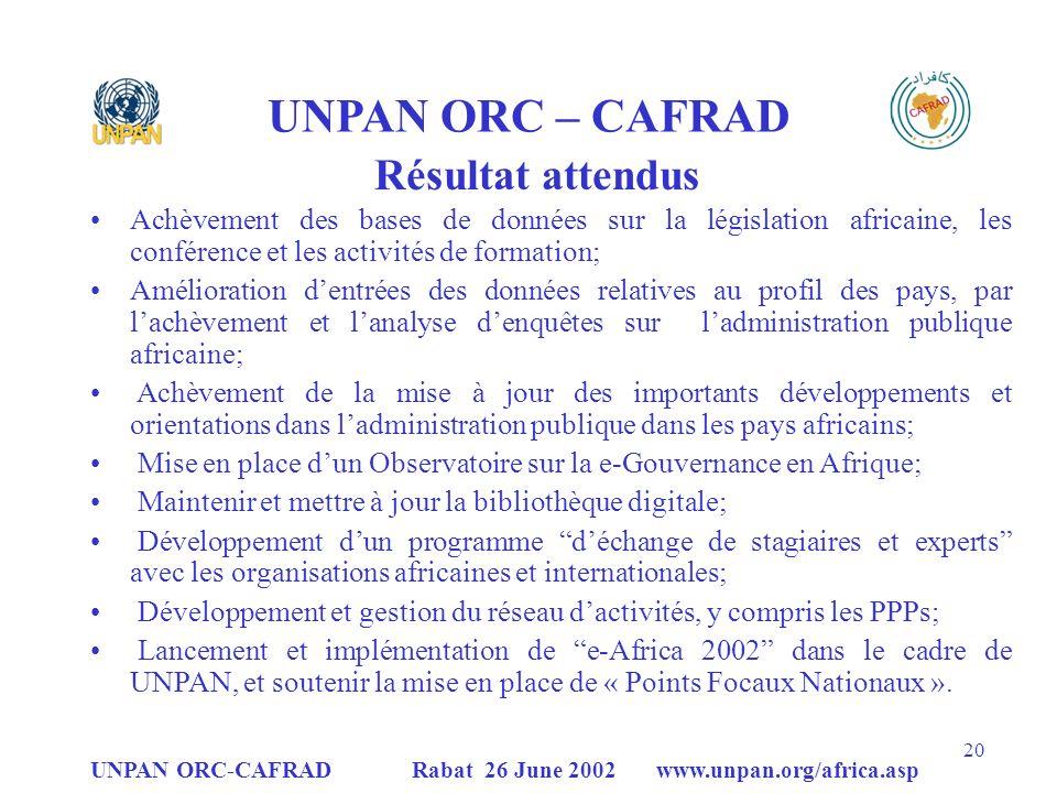UNPAN ORC – CAFRAD Résultat attendus