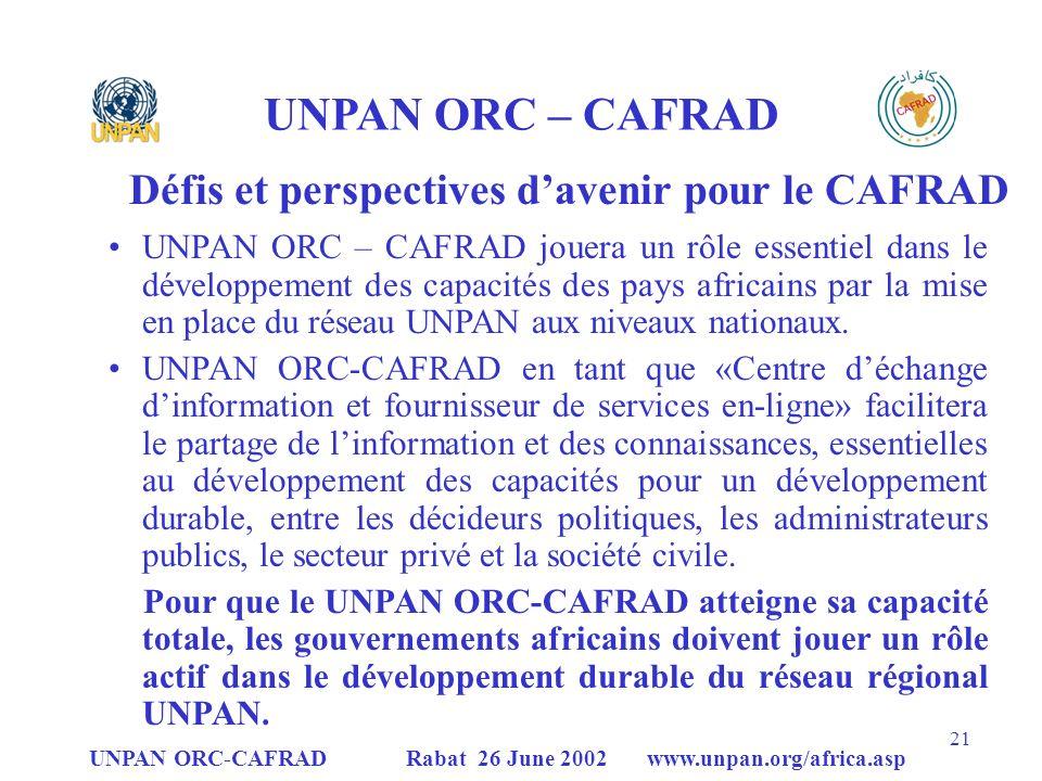 Défis et perspectives d'avenir pour le CAFRAD