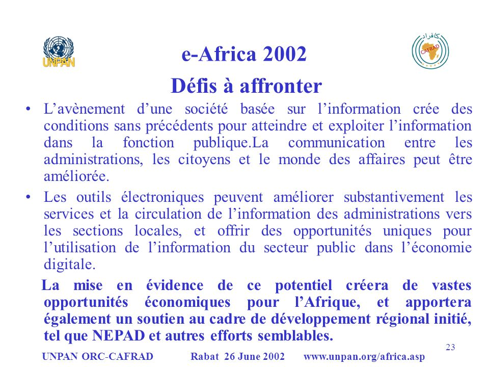 e-Africa 2002 Défis à affronter