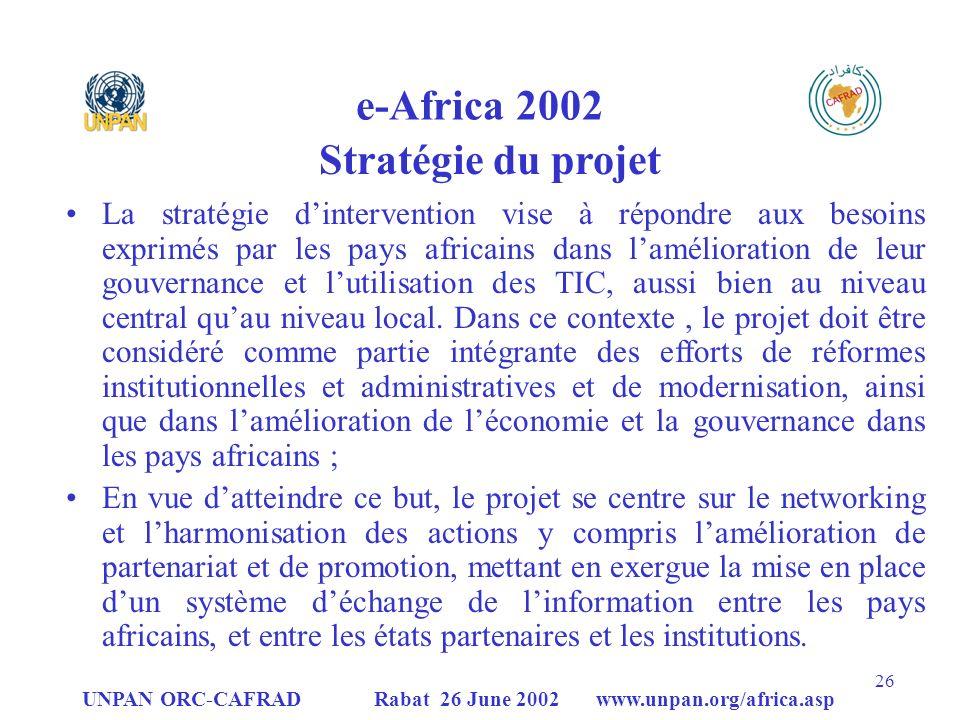 e-Africa 2002 Stratégie du projet