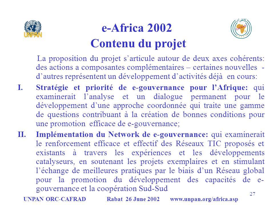 e-Africa 2002 Contenu du projet