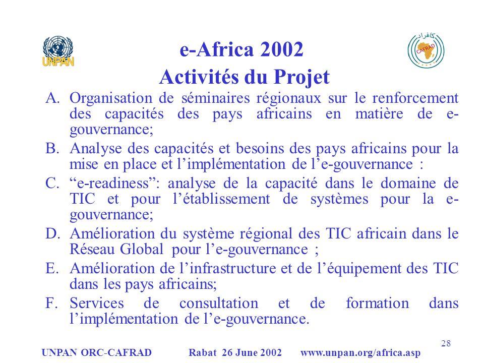 e-Africa 2002 Activités du Projet