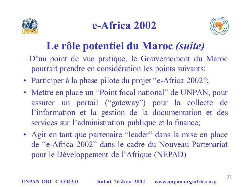 Le rôle potentiel du Maroc (suite)