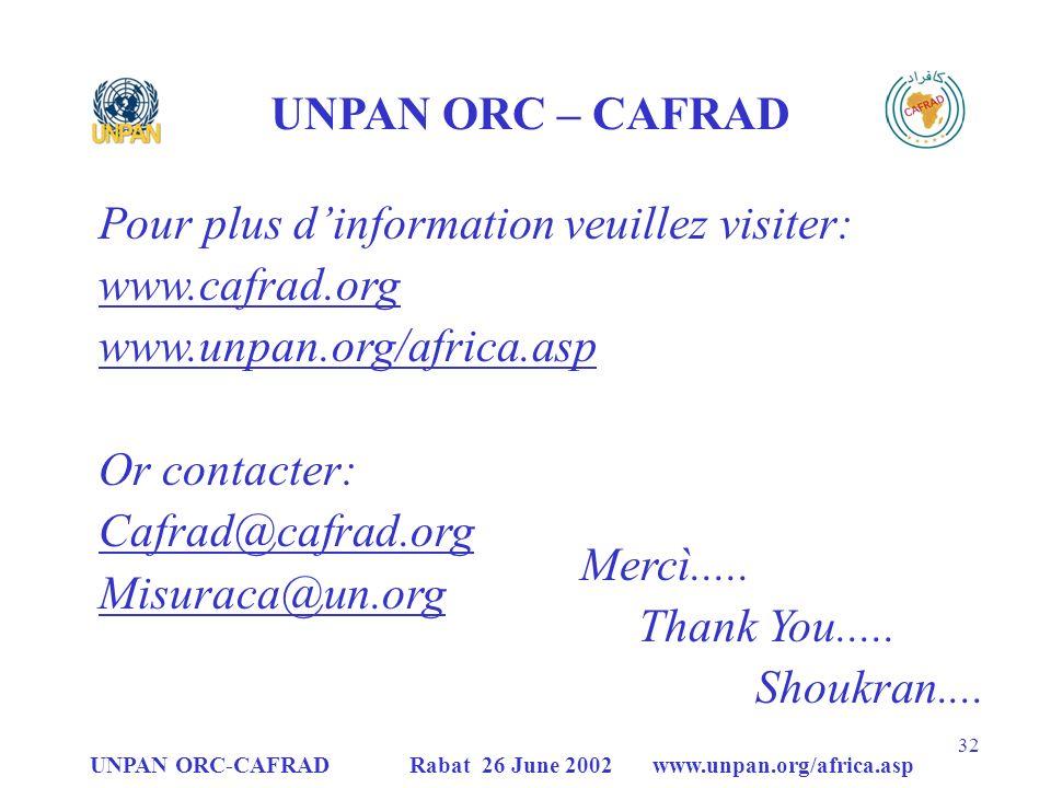 Pour plus d'information veuillez visiter: www.cafrad.org