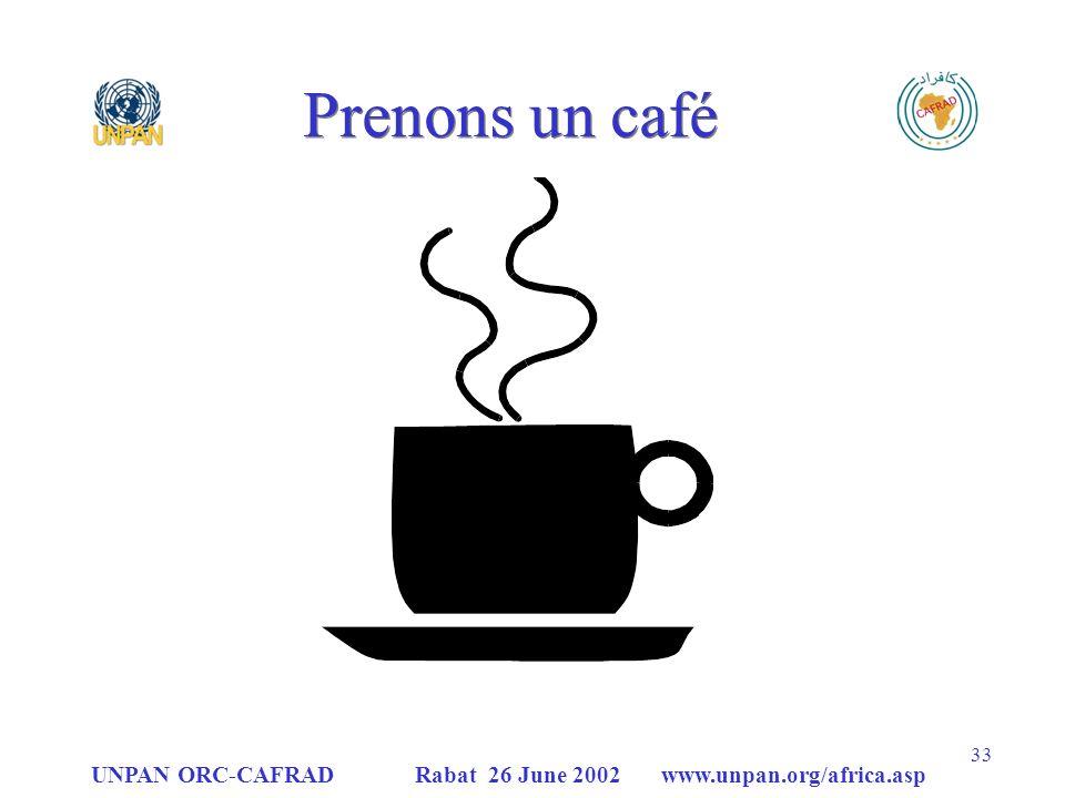 Prenons un café UNPAN ORC-CAFRAD Rabat 26 June 2002 www.unpan.org/africa.asp