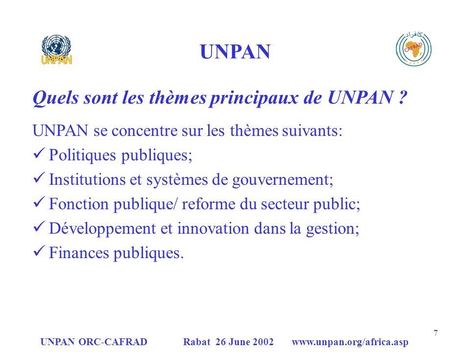 UNPAN Quels sont les thèmes principaux de UNPAN