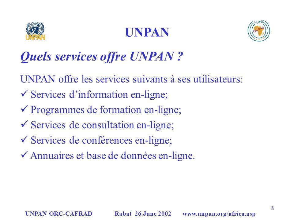 Quels services offre UNPAN