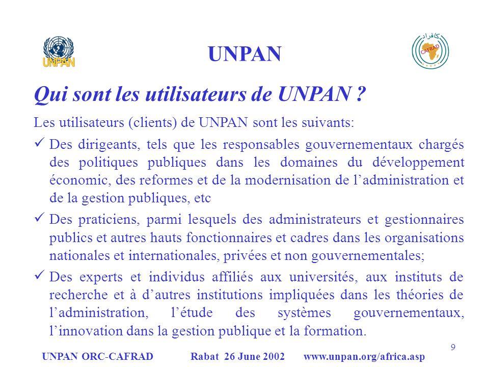 Qui sont les utilisateurs de UNPAN