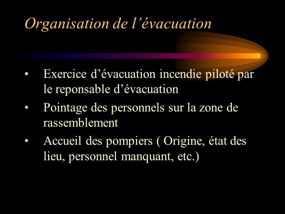 Organisation de l'évacuation