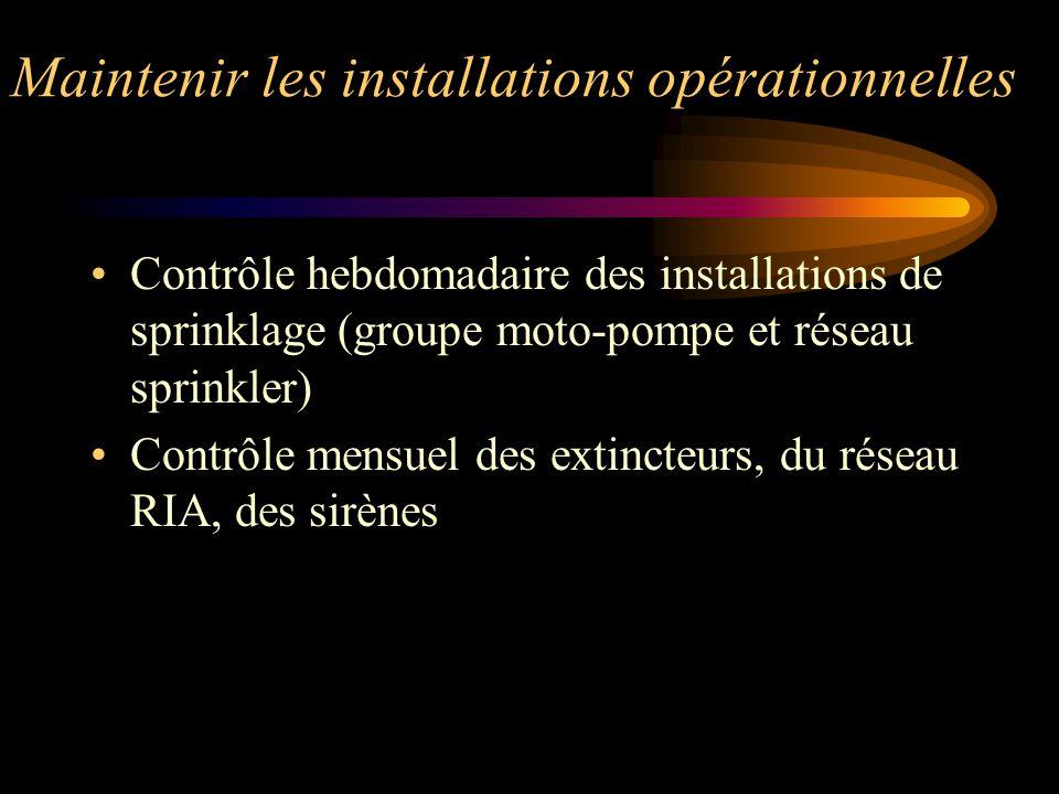 Maintenir les installations opérationnelles