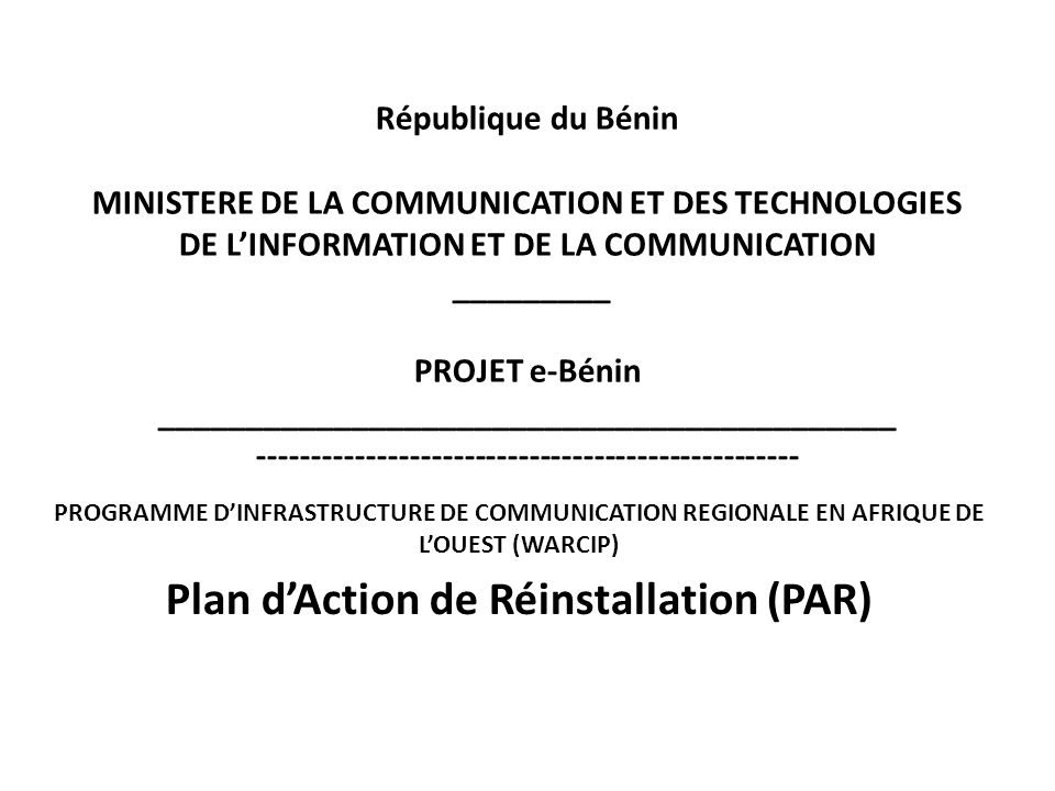 Plan d'Action de Réinstallation (PAR)