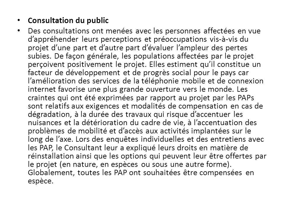 Consultation du public
