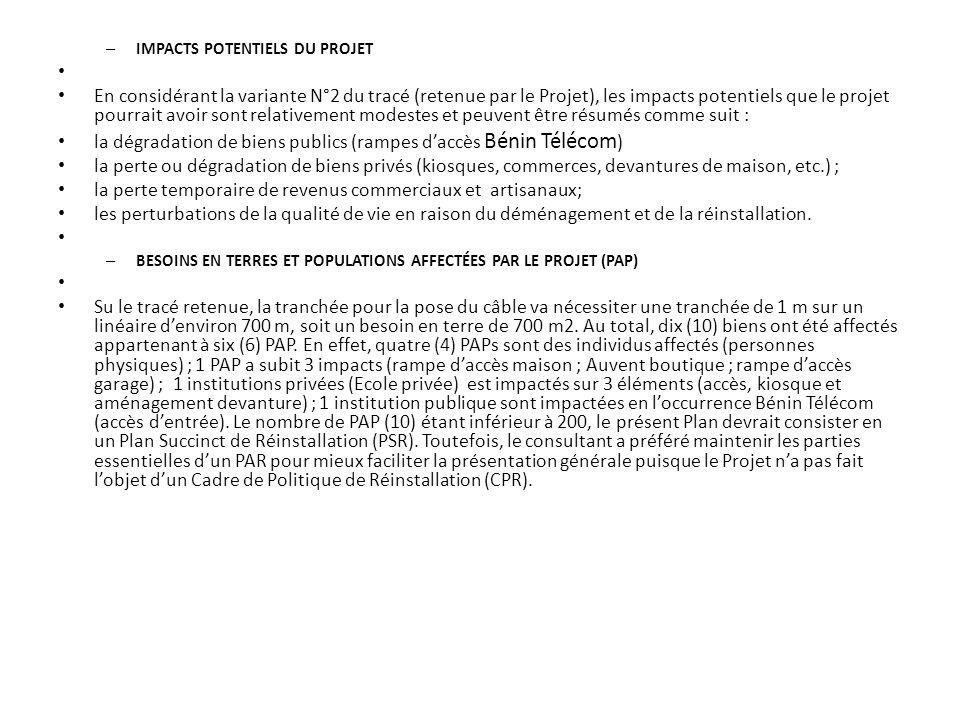 la dégradation de biens publics (rampes d'accès Bénin Télécom)
