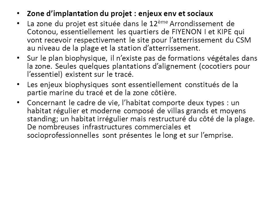 Zone d'implantation du projet : enjeux env et sociaux